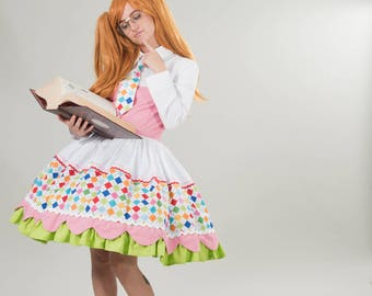 Cute Girl Nerd Argyle Dress Womens Adults Couture Halloween Costume Handmade Custom Size including Plus Sizes White Pink Lime Green