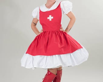 Nurse Dress & Apron Red White Cosplay Animie Gothic Lolita Custom Size including Plus Sizes Halloween Costume Made to Measure