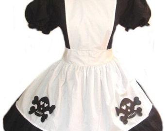 Goth Alice in Wonderland Gothic Black Dress White Apron Skulls Womens Adults Custom Size including Plus Sizes Halloween Costume