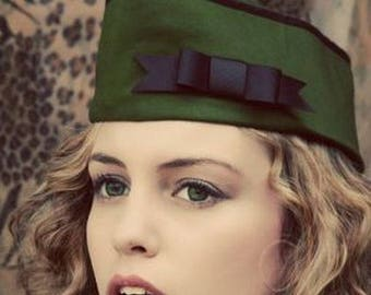 Army Green Military Hat with Black Bow Cap Garrison Flight Wedge Steampunk  Steam Punk Pinup Pin UP Unisex Mens Womens for Halloween Costume 2b2c7fb439c4