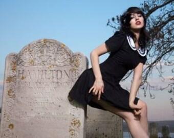 395bb8cc400dd Black Short Dress Minidress White Peter Pan Collar Goth Gothic Wednesday  Addams Halloween Costume Custom Size including Plus Sizes