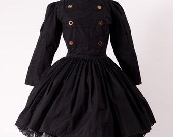 Steampunk Steam Punk Military Dress Gothic Goth Lolita Black Dress & Gears Womens Cosplay Costume Custom Size including Plus Sizes