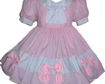 Adult Sissy Baby Little Bo Peep Swiss Maid Dress Heidi Pink White Womens Adults Custom Size including Plus Sizes Handmade
