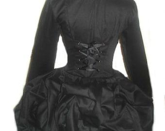 Black Steampunk Jacket Goth Loli Military Bustle Corset Jacket Lolita Gothic Victorian Unique Womens Custom Size including Plus Sizes