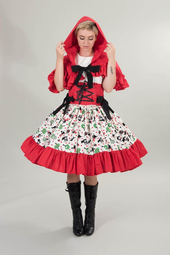 Cute Little Red Riding Hood Womens Cosplay Dress And Hooded Etsy