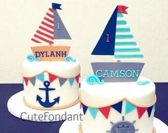 Cool Nautical Cake Topper Etsy Funny Birthday Cards Online Inifofree Goldxyz
