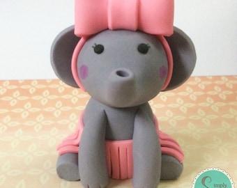 Baby Elephant fondant cake topper - Baby Shower cake topper - Elephant cake topper -Elephant Baby Shower - Baby Elephant