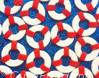 12 Lifesaver cupcake fondant toppers - Nautical party - Nautical baby shower - Nautical birthday - Cupcake toppers - Buoy