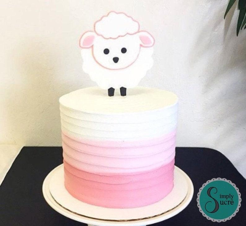 Surprising Baby Lamb Fondant Cake Topper Fondant Lamb Baptism Cake Etsy Birthday Cards Printable Inklcafe Filternl
