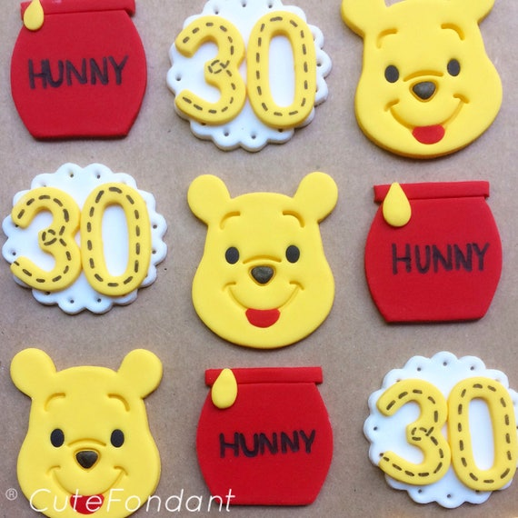 12 Winnie The Pooh Fondant Cupcake Toppers Winnie The Pooh Etsy