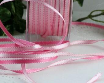 2 yd PinkGreen Reversible Satin Ribbon 316 inch wide