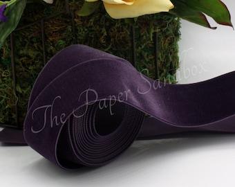 Eggplant Velvet Ribbon 1.5\u201d wide BY THE YARD