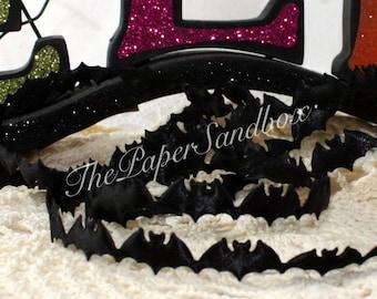 "Black Bat Ribbon Trim 3/4"" wide by the yard"