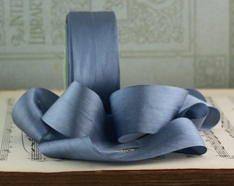"Dusty Blue Silk Ribbon, 1.25"" wide by the yard, Dusty Blue Ribbon, Slate Blue Silk, Blue Gray Silk, Hand Dyed Silk, Bouquet Ribbon"