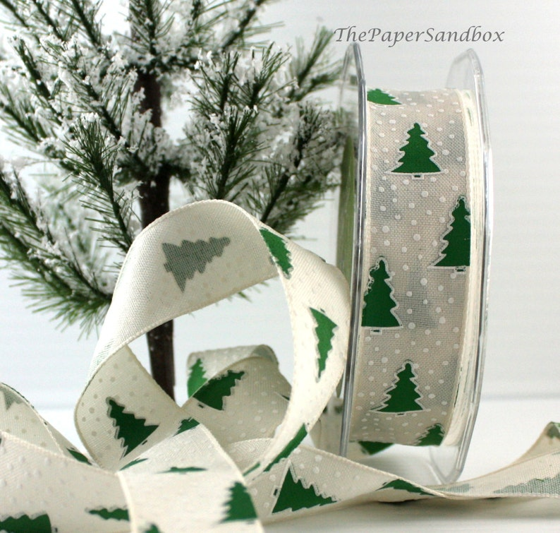 Christmas Ribbon Green And White Pine Tree Ribbon 1 Inch Etsy