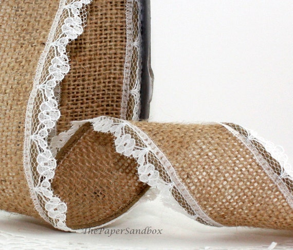 Printed Burlap Ribbons 3 Yards Lace 2.5inch Wide
