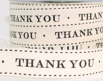 """Thank You Ribbon 3/4"""" wide by the yard, Cotton Twill Ribbon"""