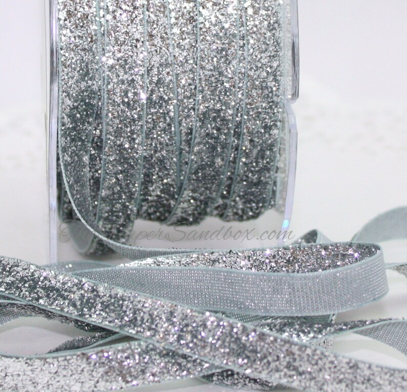 Silver Glitter Ribbon 3/8 wide BY THE YARD image 0