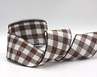 """Wired Brown/White Buffalo Plaid Ribbon 2.5"""" wide BY THE YARD"""