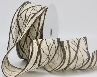 """Wired Fall Tree Branch Ribbon 2.5"""" wide BY THE YARD"""