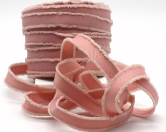 """Blush Pink Frayed Grosgrain Ribbon 5/8"""" wide BY THE YARD"""