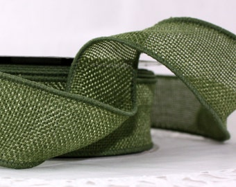 """Olive Green No Shed Burlap Wired Ribbon 1.5"""" wide by the yard"""