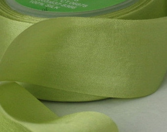 "Leaf Green Silk Ribbon, Green Silk, Hand Dyed Silk, 1.25"" wide by the yard, Pantone Tender Shoots"