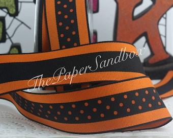"Black/Orange Polka Dot Ribbon 1.5"" wide BY THE YARD"