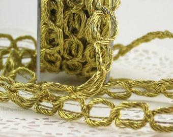 "Gold Metallic Chain Trim, 5/8"" wide"
