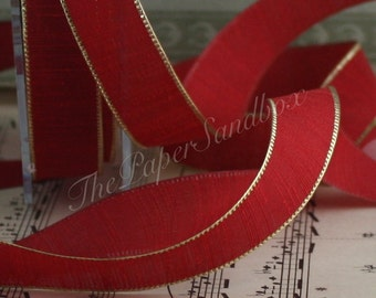 """Red/Gold Textured Ribbon 5/8"""" wide by the yard, Christmas Ribbon"""