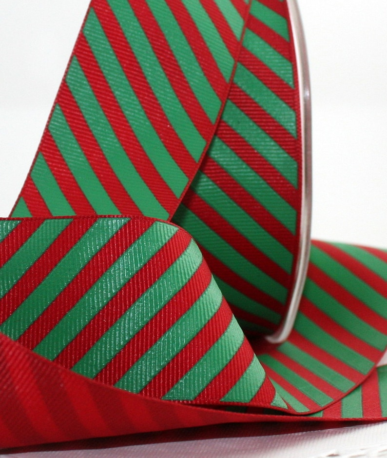 "5 Yards Christmas Red Green Silver Striped Reversible Ribbon 3//8/""W"