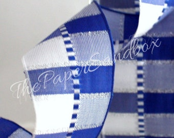 """Wired Blue/White/Silver Plaid Ribbon 1.5"""" wide by the yard"""