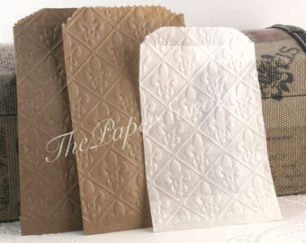 25 Fleur de Lis Embossed Paper/Glassine Bags, Silverware Bags, Wedding Favor Bags, Party Favor Bags, French Theme Wedding Favors, Candy Bags