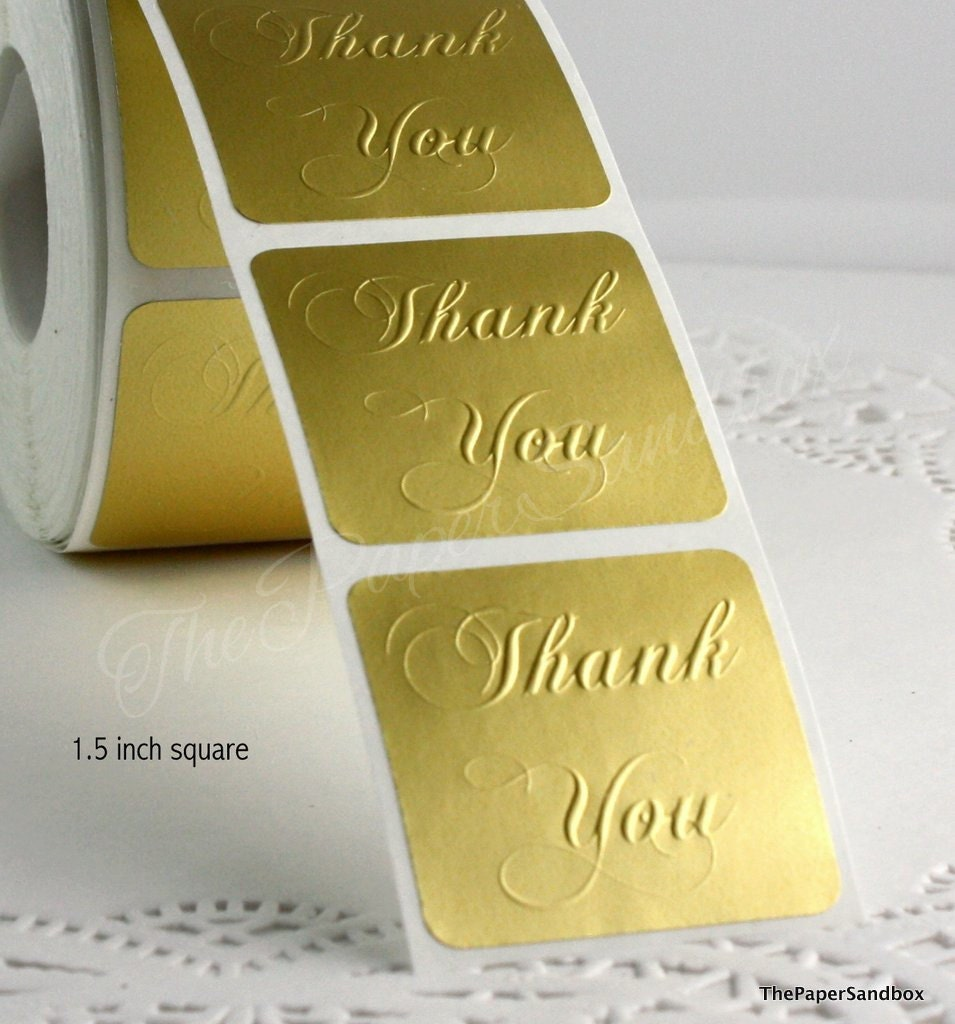Square matte gold thank you seals stickers custom embossed thank you stickers 1 5 square stickers