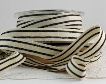 "Black/Ivory Striped Cotton Twill Ribbon 5/8"" by the yard"