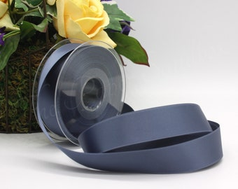 """Slate Blue Satin Ribbon 5/8"""" wide BY THE YARD, Double Faced Satin"""