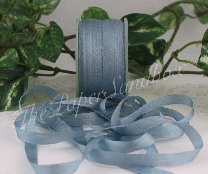 Dusty Blue Silk Ribbon 1/4 wide by the yard image 0