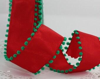 "Wired Red & Green Ribbon, 1.5"" wide, Pom Pom Trim Ribbon"