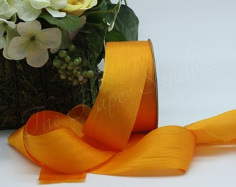 """Cadmium Yellow Silk Ribbon 1.25"""" wide by the yard"""