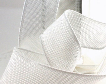 """Wired White No Shed Burlap Ribbon, 1.5"""" wide by the yard"""