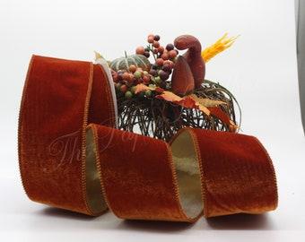 "Wired Burnt Orange Velvet Ribbon 2.5"" wide BY THE YARD"