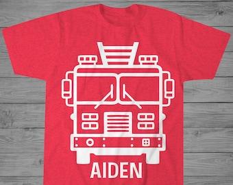 Threadrock Little Boys Fire Truck Santa Claus Toddler L//S T-Shirt