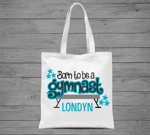 607713b8eb Born to be a Gymnastics Tote Bag Personalized Gymnastics Bag