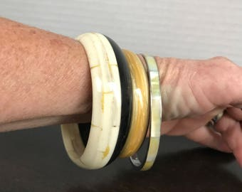 "Vintage Trio Bangle Bracelets Marked ""SANGHVI Made in India"" Black & Creme Bangle ""AVON"" Gold Tone Yellow Swirl Bangle Unsigned MOP Bangle"