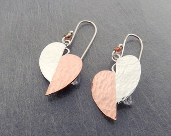 Art Deco Style Earrings, Sterling and Copper Leaf Jewelry, Mixed Metal, Split Heart Drops