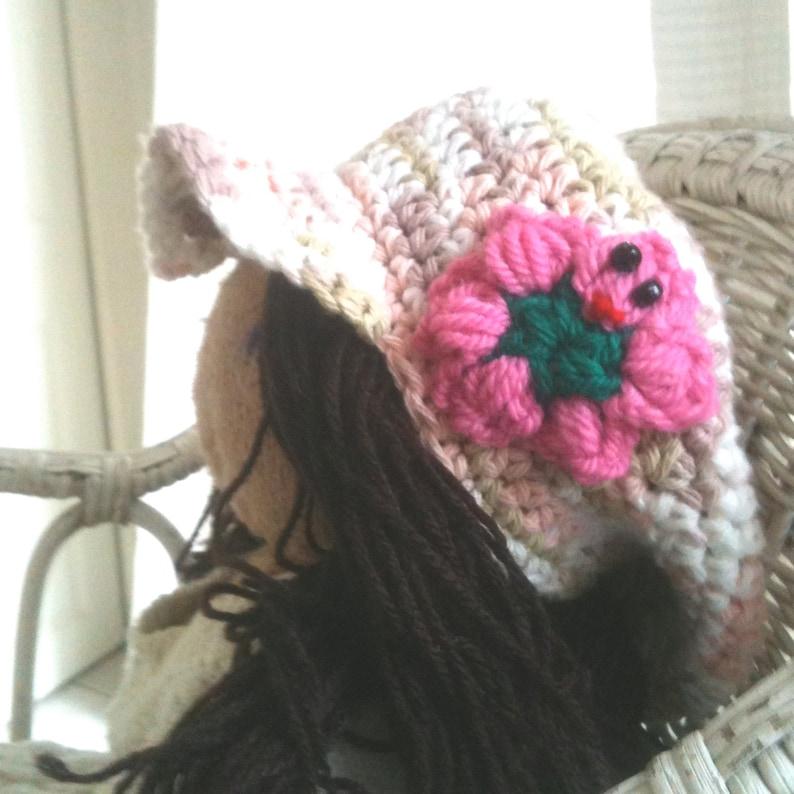 Chlldrens Cotton Cap - Peaked Cap - Sun Hat - tan, white peach with pink  flower- Spring Cap - Baby - Girls - Kevins Kids Cap - Fundraiser