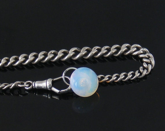Antique Sterling Silver Fob Chain Bracelet | Heavy Graduated Link & Opalescent Glass Drop | English Hallmarks - fits a 7.5 Inch Wrist