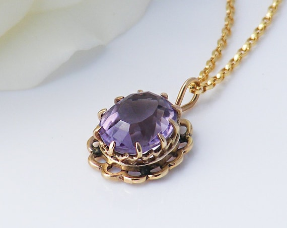 Vintage Amethyst Necklace | 9ct Gold & Faceted Gemstone | Rose de France Amethyst, Dainty Petite Pendant - 20 Inch Chain