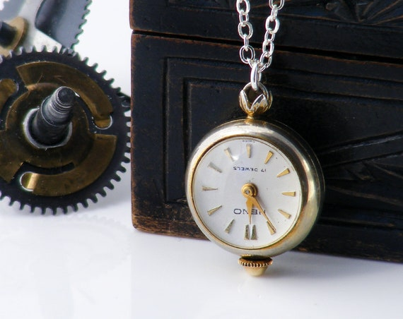 Vintage Pendant Ball Watch | Working Mechanical Orb or Bubble Watch | Exposed Mechanism - 30 Inch Sterling Chain