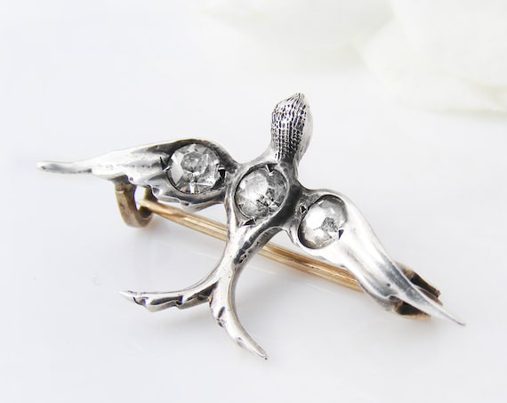 Victorian Silver Swallow Brooch | Antique European 800 Silver Lace Pin | Rock Crystal Rhinestones | Small Silver Bird Lapel Pin
